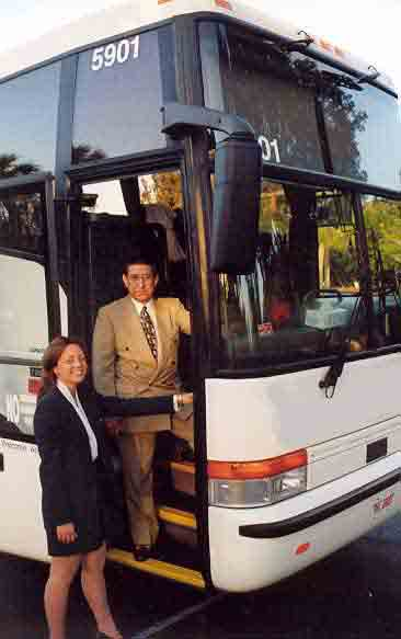 bus driver and tour guide at work
